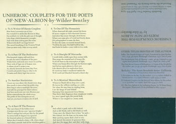 Unheroic Couplets For the Poets of New Albion. Broadside Number Two: April 8th, 1934. Printed on the Acorn Press in the Thousand Oaks, Berkeley, 1934. One of 121 copies. First Edition. Acorn Press, Wilder Bentley.