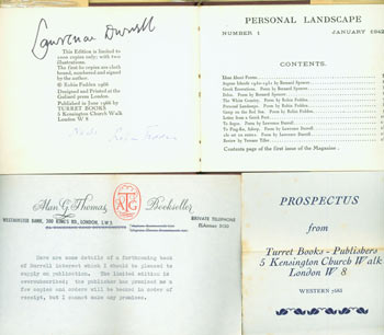 Personal Landscape: An Anthology of Exile. Limited First Edition, Signed by Lawrence Durrell & Robin Fedden, Numbered 31 of 50. Includes the Prospectus for this book, and an accompanying typed letter on Alan G. Thomas letterhead. des., print, Terence Tiller Robin Fedden, Lawrence Durrell, Bernard Spencer, Goliard Press, Turret Books, Alan G. Thomas.