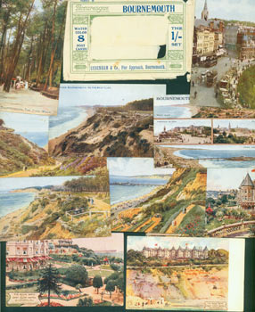 Picturesque Bournemouth. 8 Water Color Post Cards. Sydenham & Co., Pier Approach, Bournemouth. Series B. Salmon Series. London, Tunbridge Wells.