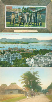 Vintage Postcards From Hong Kong: Slow Death, Cages in which criminals are suspended by neck and wrists till dead; View of Hong Kong Harbour; rural scene. C. Piens, Hong Kong Kowloon.
