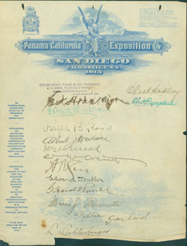 Panama-California Exposition, San Diego, California, 1915. Official Letterhead Signed by dignitaries and important citizens. Panama-California Exposition, Pacific Coast Manager E. K. Hoak, Page, Doubleday, Co. Publishers, Chas. R. Hodley, Robert N. Bulla, Charles Campbell, Ralph B. Lloyd, Albert Wallace, Edward Doubler A. N. Jess, G. Harold Powell, Mervin J. Monette, William Garland, L. Lichtenberger, San Diego.