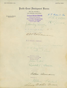 Autographs from noteworthy Californians on Pacific Coast Development Bureau letterhead. RE: Commercial Encyclopedia of the Pacific Southwest by Ellis A. Davis. Pacific Coast Development Bureau, N. T. Horton, J. Harley Long, B. O. Kendall, Wilmer D. Hole, Attorney-at-Law E. A. Taylor, Reginald D. Johnson, Arthur Heimann, Henry Mather Green.