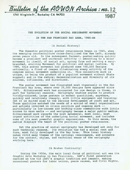 Bulletin Of The AOUON Archive. No. 12 (1987). The Evolution of the Social Serigraphy Movement in the San Francisco Bay Area, 1966 - 1986. All Of Us Or, Michael Rossman, CA Berkeley.