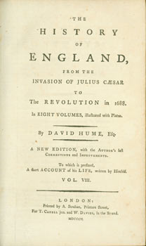 The History Of England. From the Invasion of Julius Caesar to the Revolution in 1688. Volume VIII. David Hume, A. Strahan, print.