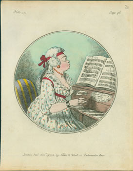 (Lady Playing Piano From Sheet Music). Hand-colored engraving. Isaac Cruikshank, after George Moutard Woodward, 1764 - 1811, engrav, artist.