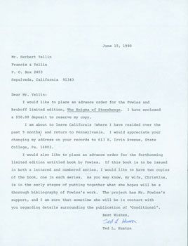TLS Ted L. Huston to Herb Yellin, June 15, 1980. RE: John Fowles bibliography Huston's wife Christine was putting together. Ted L. Huston.