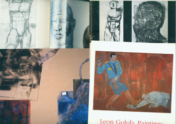 "Dossier related to artist Leon Golub from Peter Selz Files, including: Exhibition Catalog, Allan Frumkin Gallery (Chicago), signed by Selz, with NY Times 1956 review clipping, 1956. Leon Golub: Paintings, Johnson County Community College, Gallery of Art, 1990. Retrospective Exhibition--Leon Golub 1948 - 1963, Temple University, 1964. ARTnews, ""Leon Golub's Mean Streets"" Feb 1985. Leon Golub, Card with Color Print from William Griffin Gallery, Santa Monica, CA; Later Paintings: 1995 - 2000. Leon Golub Newspaper Clippings send from Johnson County Community College, Gallery of Art. File full of Leon Golub exhibition brochures, essays, reviews, clippings, B&W photos, 100+ pieces total. Peter Selz, Leon Golub, 1922 - 2004."