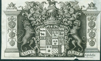 "Coat of Arms with Motto ""Love Serve"". Gribelin Engraving from Characteristics Of Men, Manners, Opinions, Times, With A Collection Of Letters. Simon Gribelin, Earl of Shaftesbury, engrav."
