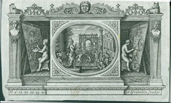 Triptych Depicting Musicians & Dancers in Center Panel, Painters on Outer Panels. Gribelin Engraving from Characteristics Of Men, Manners, Opinions, Times, With A Collection Of Letters. Simon Gribelin, Earl of Shaftesbury, engrav.