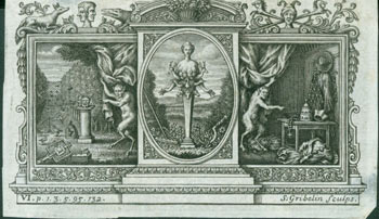 Triptych Depicting Artemis Ephesia, the Multi-Breasted Goddess, in the center panel, Capering Satyrs in the Outer Panels. Gribelin Engraving from Characteristics Of Men, Manners, Opinions, Times, With A Collection Of Letters. Engraving Accompanying Miscellaneous Reflections Vol. 3. Simon Gribelin, Earl of Shaftesbury, engrav.