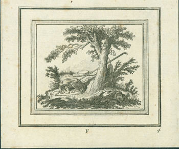 Pastoral Scene With Dog Asleep Beneath an Oak Tree, with Hat and Walking Stick. 19th Century British Engraver?