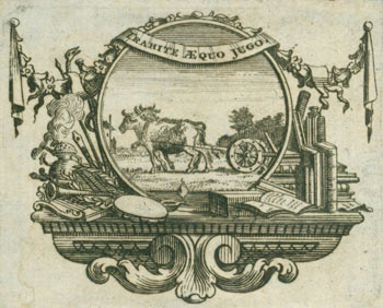 "Coat of Arms with Motto reading ""Trahite Aequo Jugo."" 18th Century British Engraver."