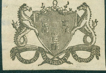 """Coat Of Arms of the City of Newcastle Upon Tyne, with Motto """"Fortiter Defendit Triumphans"""" (Triumphing By Brave Defence). 18th Century British Engraver."""