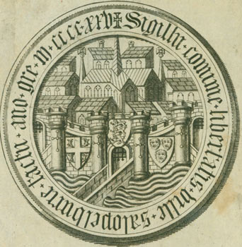 Seal Of Medieval Town with Cathedral, surrounded by Tower Walls, with a Moat Bridge, with the date 1425, and a gothic motto in Latin. (Lincoln Castle?). 18th Century British Engraver?