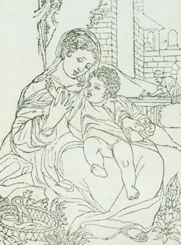 Madonna & Child, with Man Operating a Wood Planar in the Background. 18th Century British Engraver?