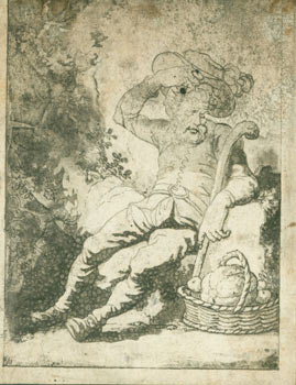 Seated Man Wearing Hat & Boots, with Cane, and Basket of Produce. 18th Century British Engraver?