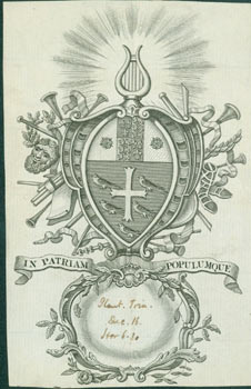 """British Coat of Arms with the Motto """"In Patriam Populumque"""" (Latin for """"People in the Country.""""). 18th Century British Engraver?"""