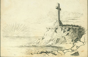 Cross on Cliff Overlooking Ocean & Setting Sun. 18th Century British Engraver?