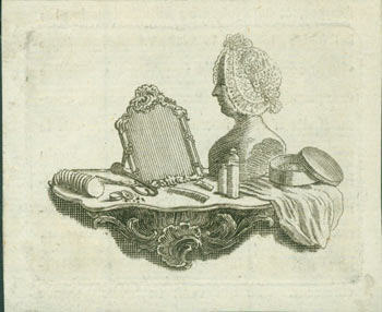 Mirror, Comb, Mannequin and other items on a mantle. 18th Century French Engraver.