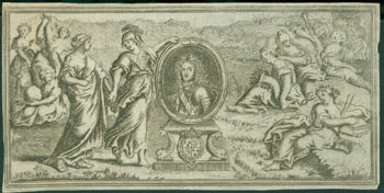 Engraving Of Ladies Around Portrait of a Nobleman. 17th Century French Engraver.