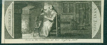 Even As The Matron, At Her Nightly Task. 18th Century British Engraver.