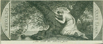 She With The Sylvan Pen. 18th Century British Engraver.