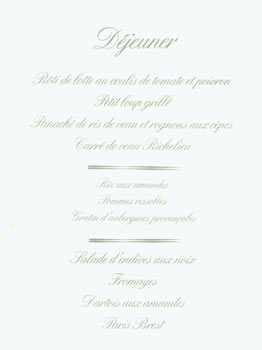 Lunch Menu for French Restaurant in Casablanca, Morocco. France Michelin Archives. Collection Guy Legay. Clermont-Ferrand.