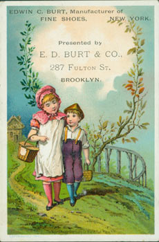 Business Card for E. D. Burt & Co. (Brooklyn). Manufacturer of Fine Shoes Edwin C. Burt, E. D. Burt, 287 Fulton St Co., New York, NY Brooklyn.