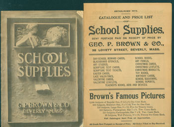 Two School Supplies Catalogues. G. P. Brown, Co, MA Beverly.