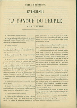 Catechisme De La Banque Du Peuple. Original First Edition. J. M. Richard.