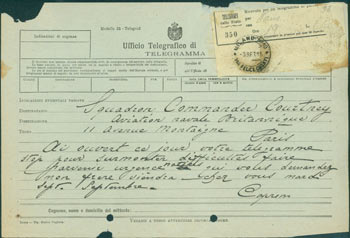 ALS Telegram Gianni Caproni to Squadron Commander Courtney, August 3, 1915. Gianni Caproni.
