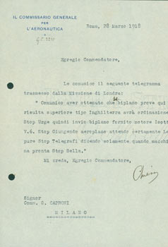 TLS from Il Commissario Generale Per L'Aeronautica, a transmission of a telegram by Pietro Sella to Gianni Caproni, March 28, 1918. Il Commissario Generale Per L'Aeronautica, Pietro Sella.