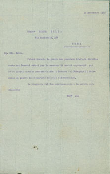 TccL [the Government of Paraguay] to Pietro Sella, September 10, 1918. Government of Paraguay.
