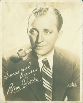 Promotional 8 x 10 Septiatone Photograph of Bing Crosby, With Facsimile Reprint Autograph. 20th Century Hollywood Photographer, B. Matthews?