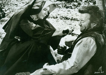 Promotional B&W Photograph for Two Mules For Sister Sara, featring Shirley MacLaine and Clint Eastwood. Universal Pictures.