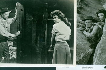 Promotional B&W Photographs for Garden Of Evil, featuring Richard Widmark, Susan Hayward. Warner Brothers.