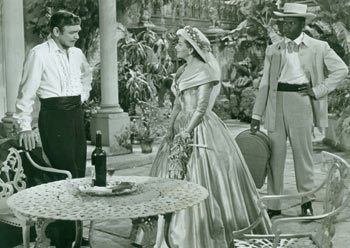 Promotional B&W Photograph for Band Of Angels, featuring Clark Gable, Sidney Poitier, & Yvonne De Carlo. Warner Bros.