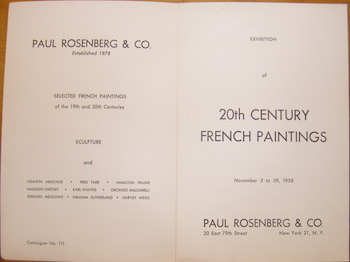 Exhibition Of 20th Century French Paintings November 3 to 29, 1958. Paul Rosenberg & Co. (NY). 15 Pieces Listed. Paul Rosenberg, Co, Matisse, Leger, Bonnard Gris, Braque, Modigliani, Picasso, Rouault, Soutine, Utrillo, Vuillard, Co., NY.
