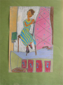 Woman in a striped dress in the style of the Bay Area Figurative School. Protégé of David Park.