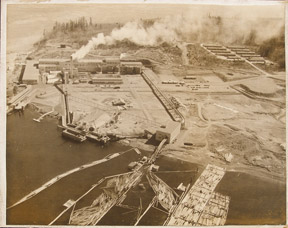 Aerial view of Bechtel Corporation logging plant. Aerial photographer.