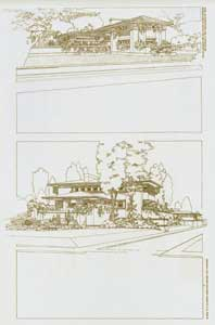 Perspective view of the Ullman house and perspective Study of the Westcott house, 1904. Pl. XVI. Frank Lloyd Wright.