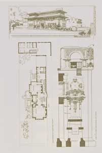 Perspective and ground plan of a city dwelling for Isadore Heller, Woodlawn Avenue, 1897. Pl. IV. Frank Lloyd Wright.