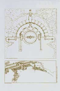 Amusement resort designed to be built at Wolf Lake, Indiana. Ground plan and study, 1895. Pl. LX. Frank Lloyd Wright.