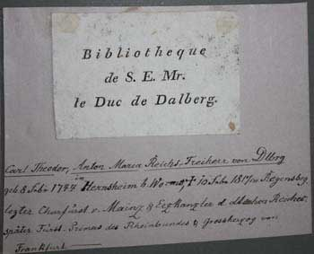 Bibliotheque de S.E. Mr. le Duc de Dalberg. Anonymous.