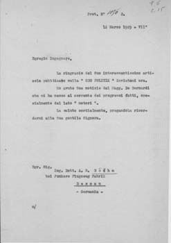 Typed letter, unsigned draft, from [Gianni] Caproni to Alois Robert Böhm. Aeroplani Caproni.