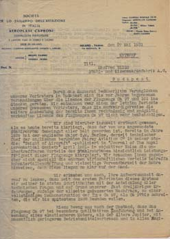 Typed letter from Aeroplani Caproni to Manfred Weiss. Aeroplani Caproni.