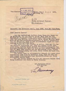 Typed letter signed from Theodore Gassman to Firma Aeroplani Caproni. Theo Gassmann.