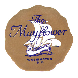Baggage label for the Mayflower Hotel. Mayflower Hotel