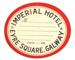 Baggage label for Imperial Hotel. Imperial Hotel