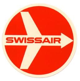 Baggage label for Swissair Air Lines. Swissair
